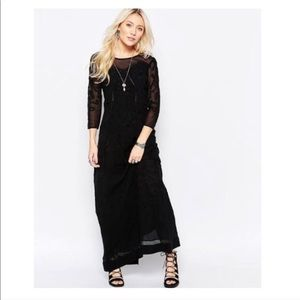 Free People Say You Love Me Black Lace Maxi Dress